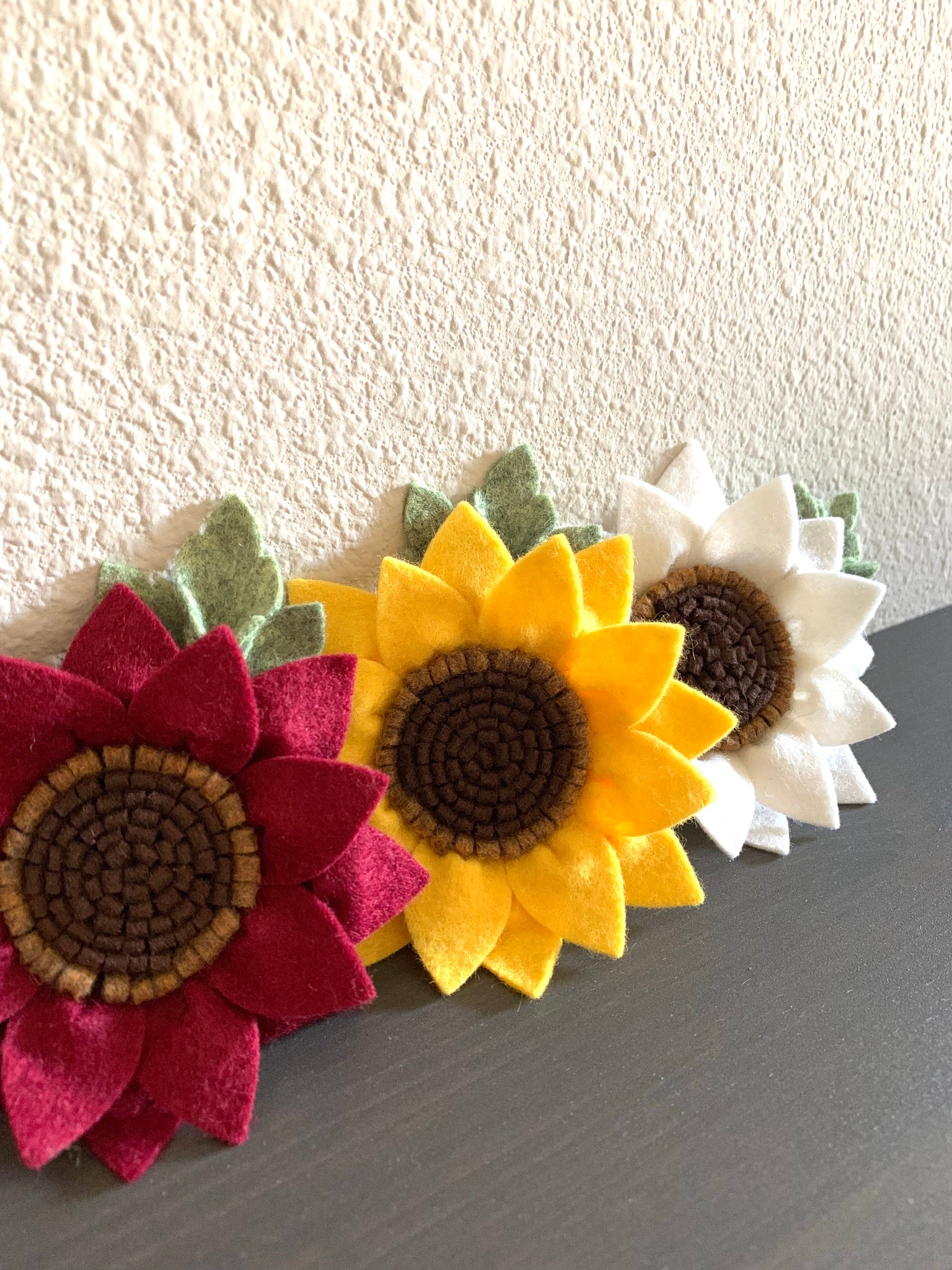 Natural White Sunflower Headband, wool felt flowers, baby girl hair accessories, baby headbands