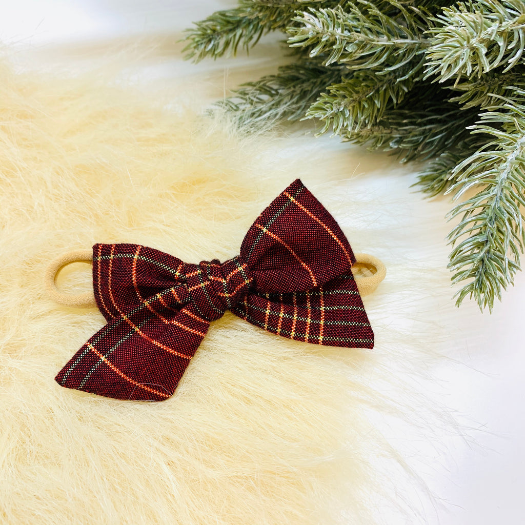 Christmas Plaid Bow Burnt Red, nylon headband or alligator clip, 3.75 inches, Vanaguelite Sale