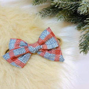 Fall Plaid Bow, nylon headband or alligator clip, 3.75 inches, Vanaguelite Sale