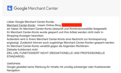 Sperrung des Google Merchant Center