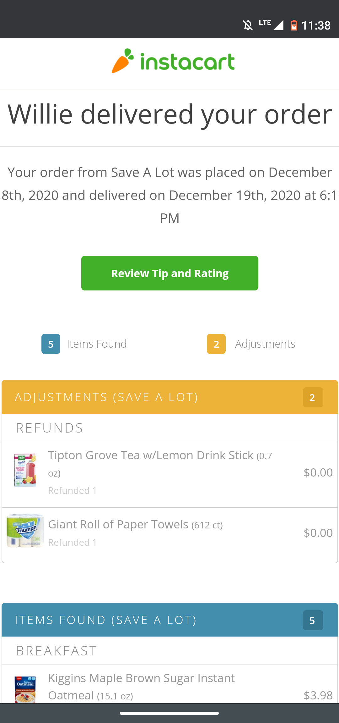 Proof of Instacart Delivery