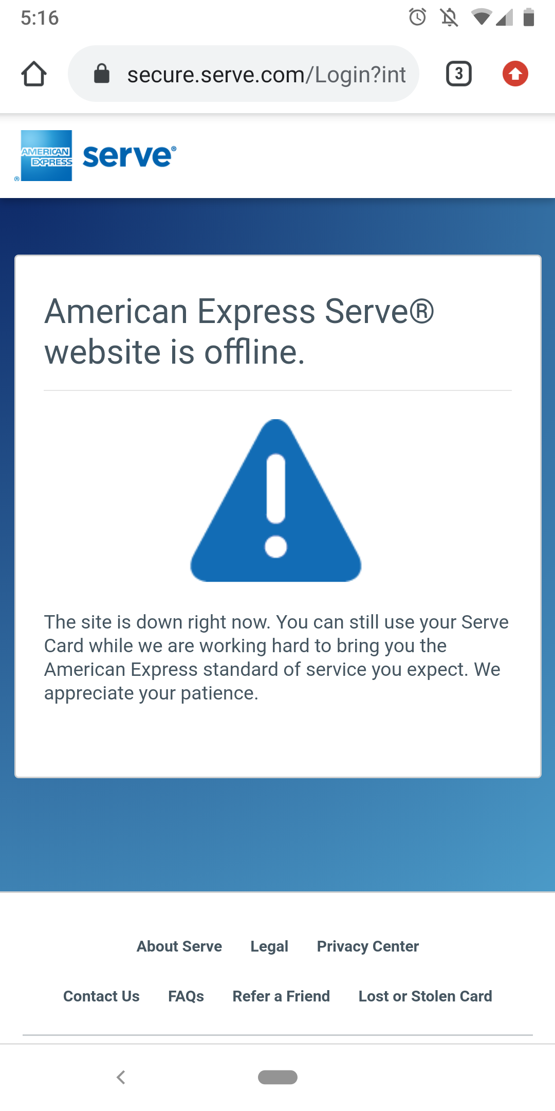 Amex serve card issues