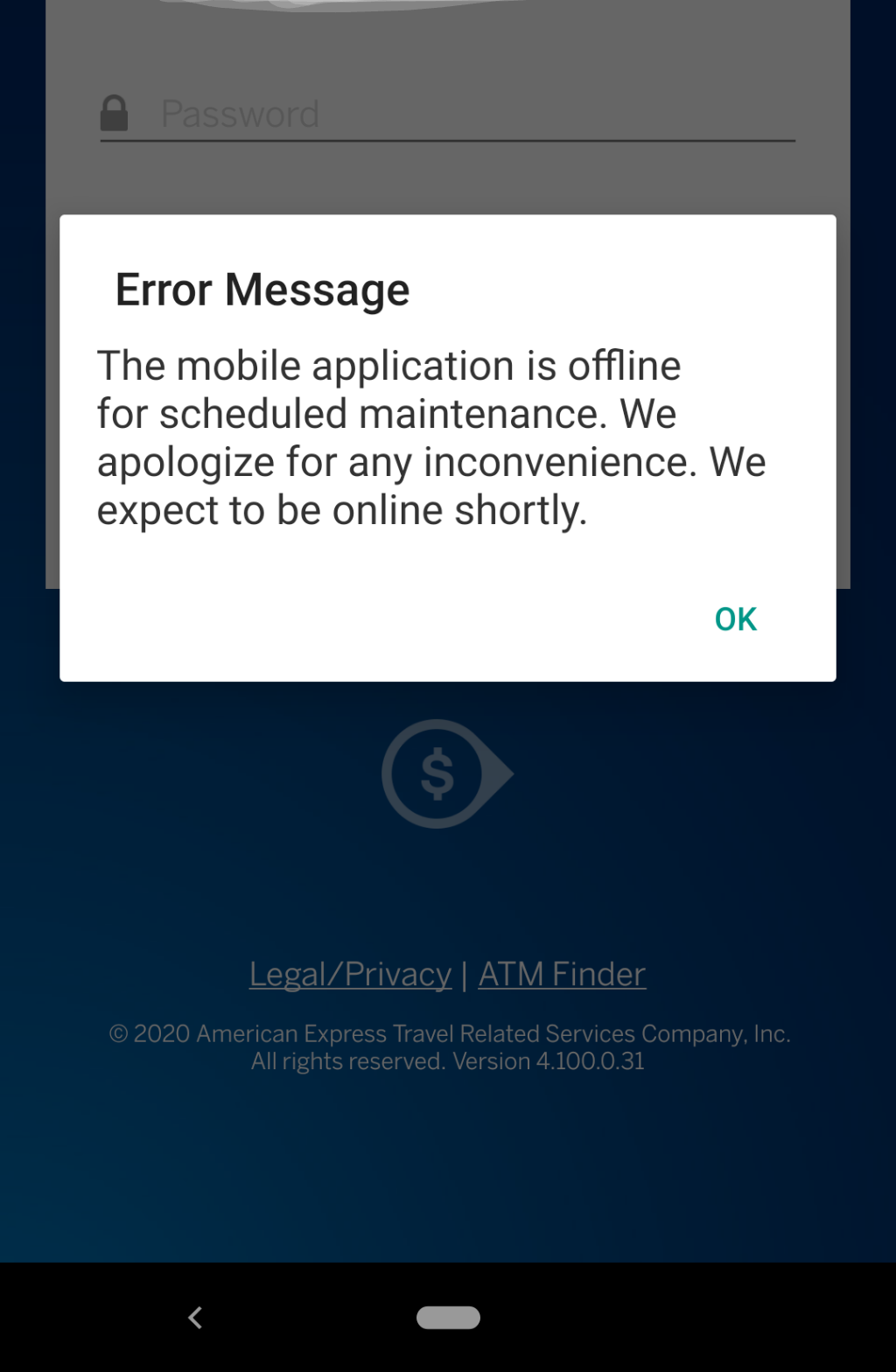 Amex serve app issues