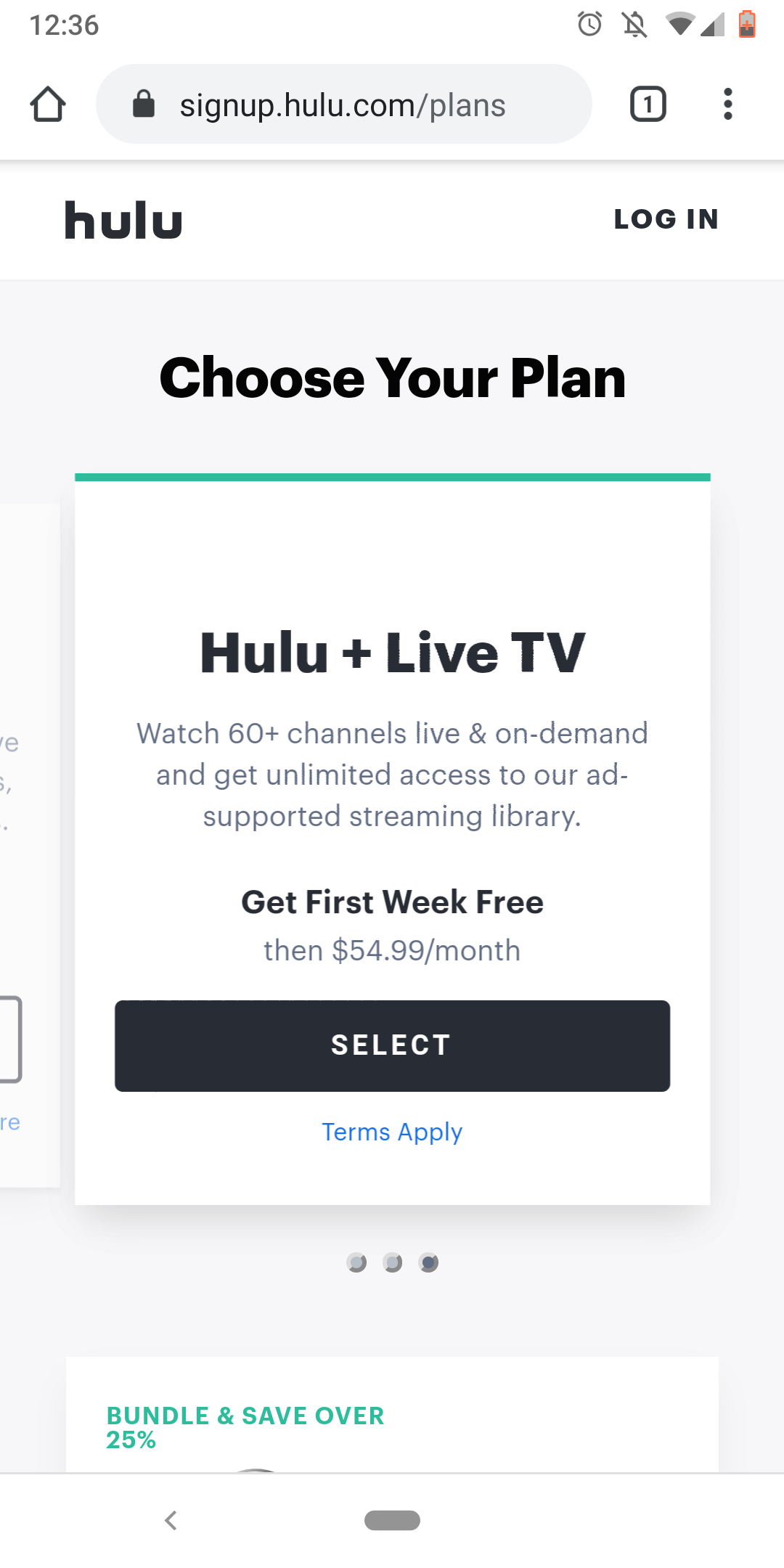 Hulu streaming with 60+ live on demand channel