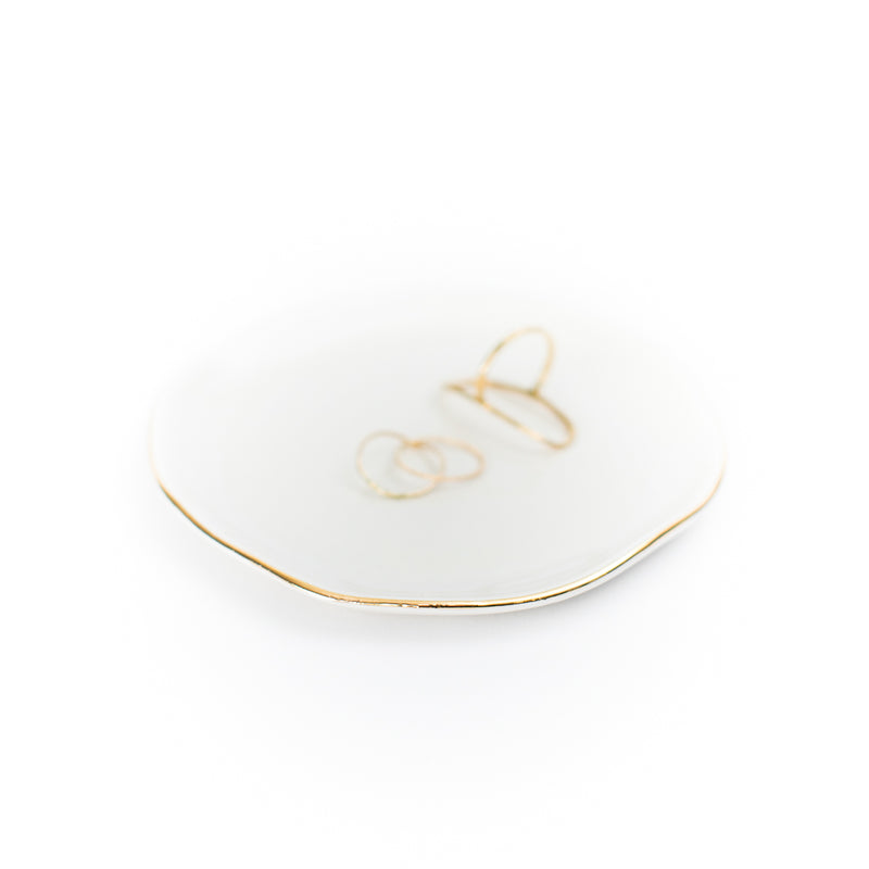 Ceramic + Gold Trinket Tray