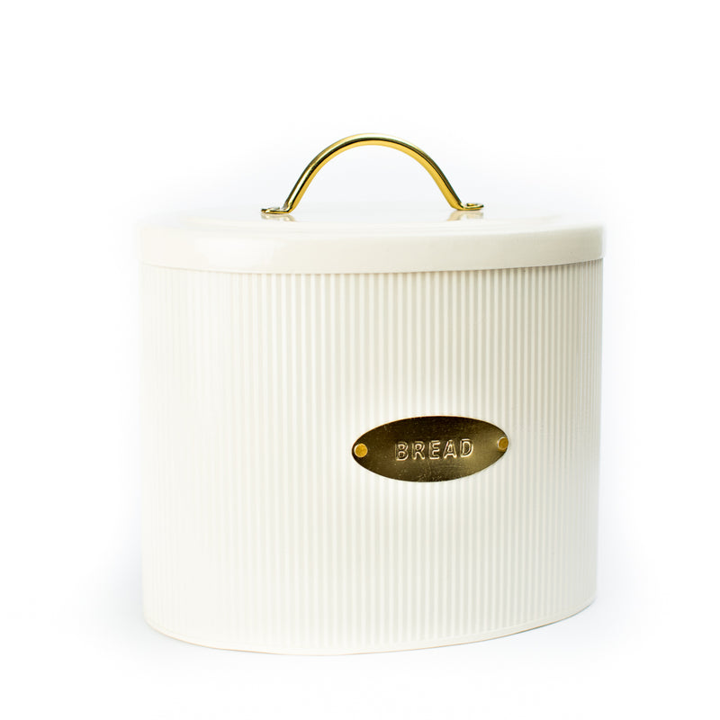 Cream Ribbed Bread Box