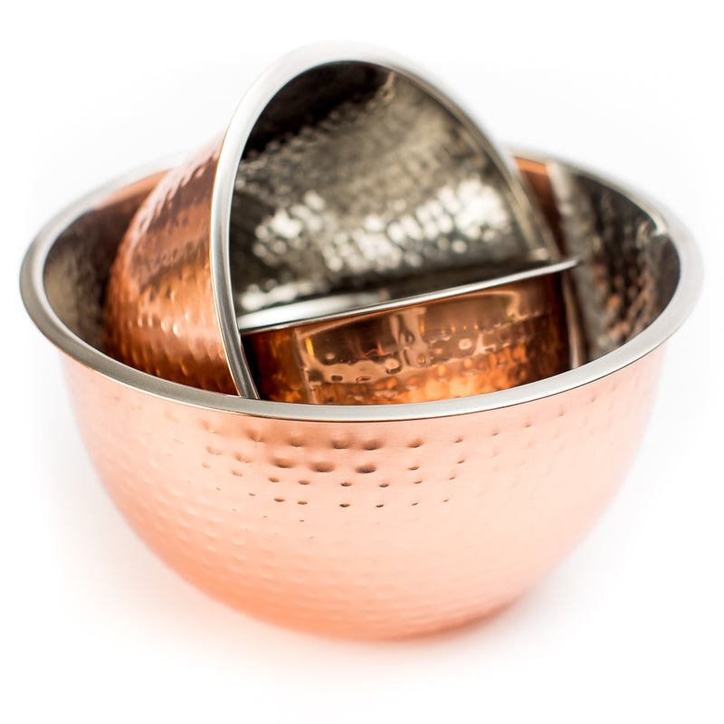 Hammered Copper Stainless Steel Bowls (Set of 3)