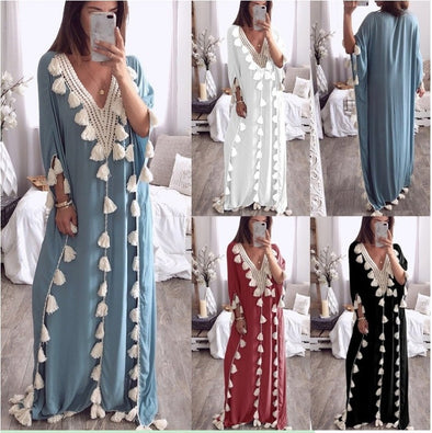 Women's Fashion Bohemian Dress National Style Fringed Beach Dress Plain Loose Dress