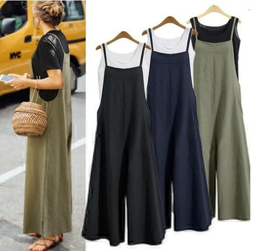 2019 European and American Women's Loose Body Wide Leg Pants Casual Jumpsuit