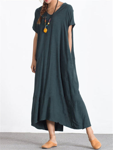 Loose Side Pockets Round Neck Short Sleeves Plus Size Thin Cotton and Linen Dress