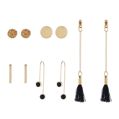 Fashion Earrings Set Creative Sequins Long Long Tassel Six-piece Suit Earrings