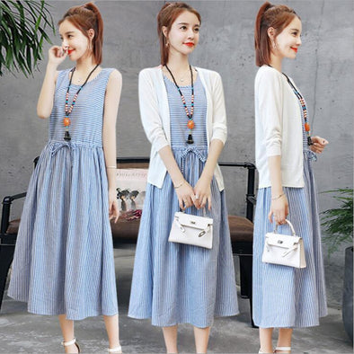 Two-piece Cotton and Linen Dress 2019 Summer Women's New Korean Version Was Thin and Long Striped Suit Skirt