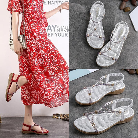 Sandals elastic band wild casual fashion flat beach sandals women