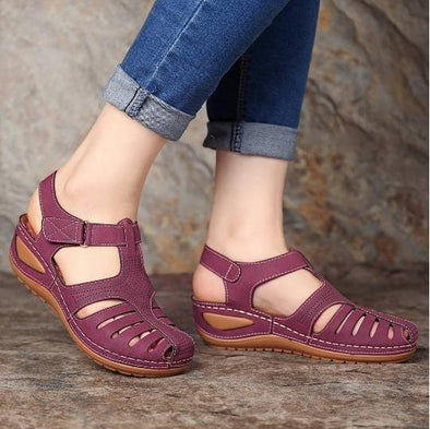 Women Handmade Retro Hollow Breathable  Sandals Comfortable Slippers