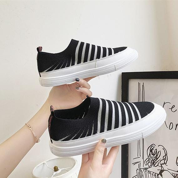Flying woven casual shoes thick candy color