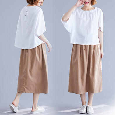 2019 Amoi Loose Large Size Literary Skirt Fashion Solid Color Ageing Skirt Set