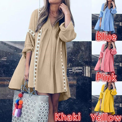 2019 Spring and Summer New European and American Long-sleeved Dress