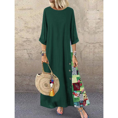 2019 Print Long Sleeve Autumn New Medium Long Bohemian Dress