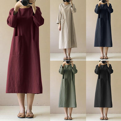 2019 Round Neck Pocket Long Sleeve Cotton and Linen Retro Long Hem Slit Dress
