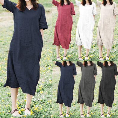 Womens Summer Solid Casual Holiday Party Beach Shirt Long Maxi Dress Sundress