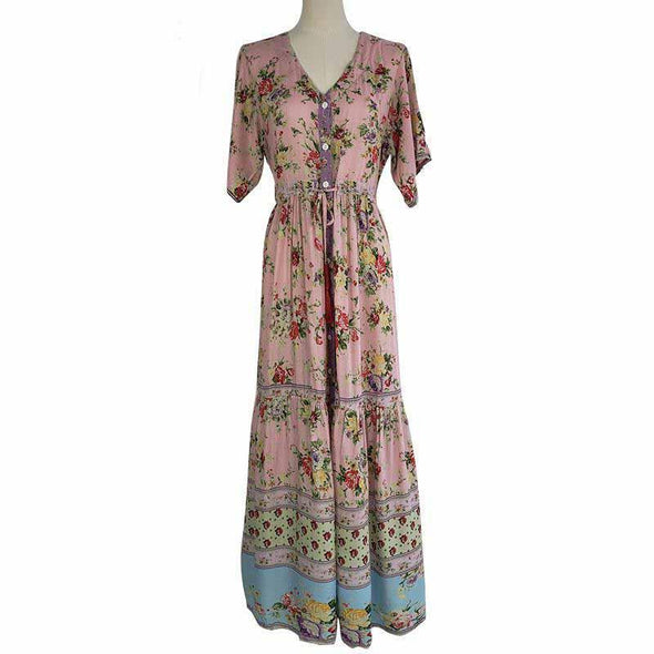 Bohemian Beach Maxi Dress Summer Women Lace Up Button Vestidos Vintage Flower Floral Print Long Dresses Casual Boho Sundress