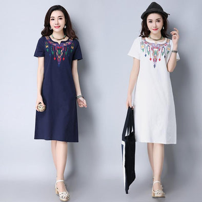 Women's small fresh embroidered V-neck short-sleeved cotton maxi dress