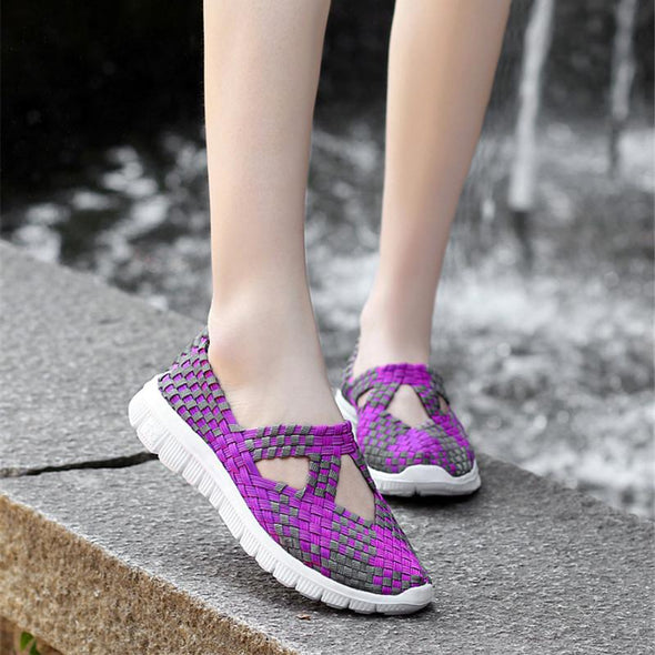 Sping women flats shoes women woven shoes flat sneakers shoes female ballet flats multi eva loafers