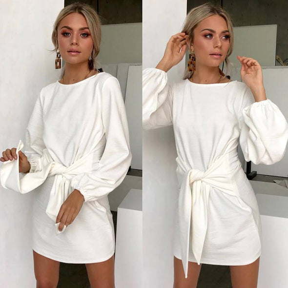 Casual Long Sleeve Autumn Dress Hollow Out High Waist Party Dress