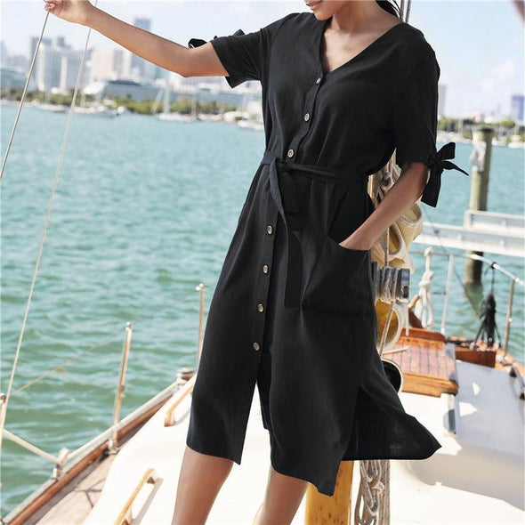 2019 New Fashion V-Neck Button Front Open Bow-knot Side Split Summer Beach Dress Black White Cotton Tunic Women Street Wear
