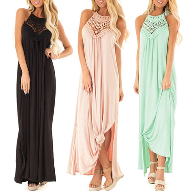 2019 Summer Dress Women Cold Shoulder Sleeveless Maxi Long Dress Sexy Evening Party Lace Split Long Dress Ladies Robe Vestidos