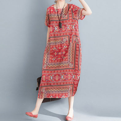 2019 Summer Modern Lady Women Cotton And Linen Printed Ethnic Short Sleeve Loose Dress Women Ventilation Casual Loose Dress