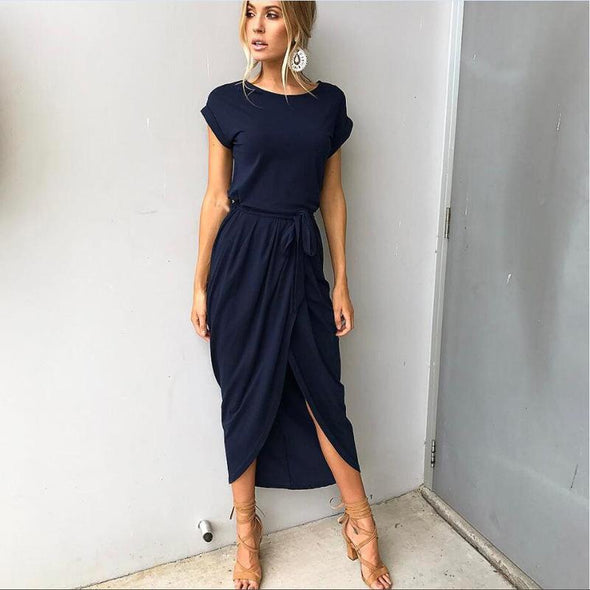 2019 Summer Women's Bohemian Beach Dresses Personality Slim Tunic Long Casual Short-Sleeved Waistline Asymmetrical Vestidos