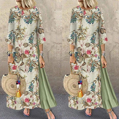 2019 Women Early Autumn Casual Linen Maxi Dress Ladies Chinese Style Printed Kaftan Holiday Loose Long Dress Plus Size