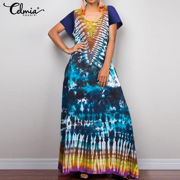 Women's Tie Dye Short Sleeve Party Evening Cocktail Hippie Baggy Long Maxi Dress