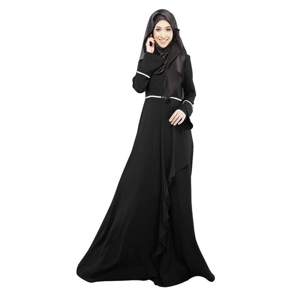 Womens Muslim Loose Solid Color Robe Clothing Abaya Islamic Arab Kaftan