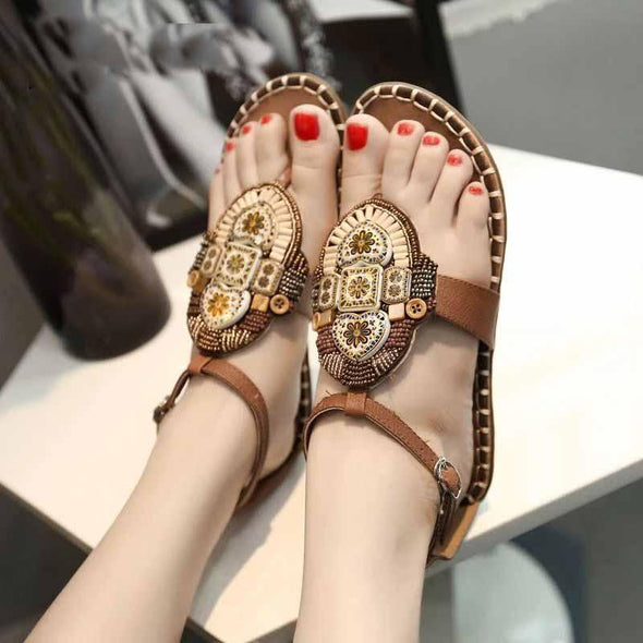 Ethnic Beading Sandals Women T-strap Flower Print Heart Pendant Gladiator Sandalias Mujer Button Slippers Women Beach Sandalc792