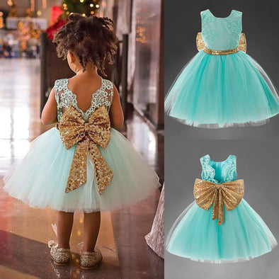 Girls Dress Bow Princess Dress Children's Party Performance Clothes Children's Wear