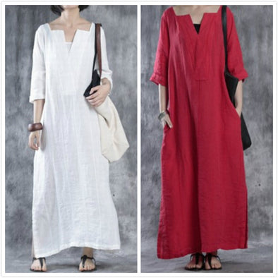 【Buy 2 get 20% Discount‼️】V-Neck Long Dress Women's Casual Loose Cotton Dress