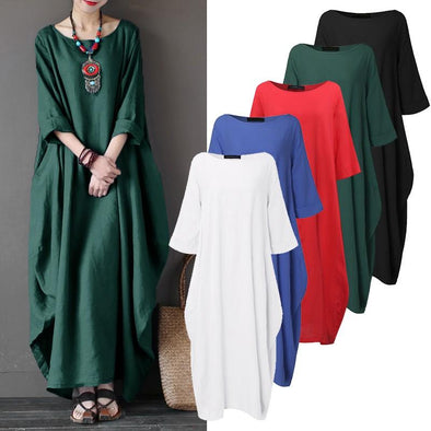 Women Cutton Oversized 3/4 Sleeve Baggy Pockets Crewneck Maxi Long Dress