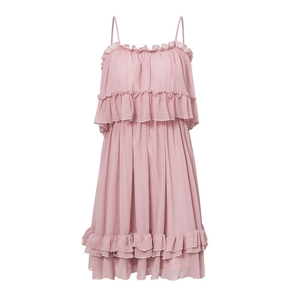 Off Shoulder Strap Chiffon Summer Dresses Women Ruffle Pleated Short Dress Pink Elegant Holiday Loose Beach Mini Dress