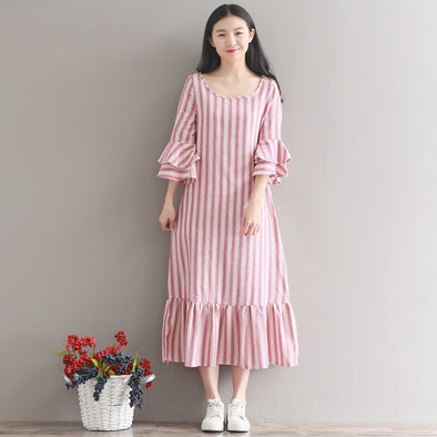 Women's 2019 New Large Size Striped Cotton and Linen Sleeve Dress Female