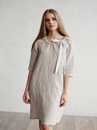 2019 Women's Solid Color Cotton and Linen Round Neck Sleeve Dress