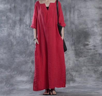 2019 Autumn V-neck Long Dress Ladies Casual Loose Cotton Dress