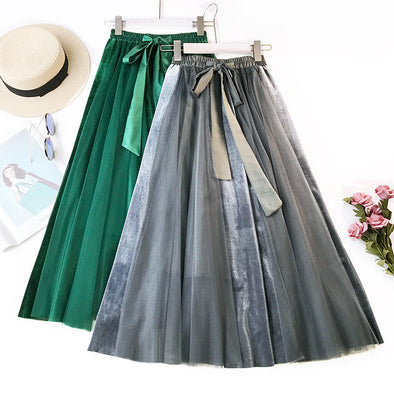 Autumn and Winter New Korean Version of Velvet Large Swing Dress High Waist Half-length Skirt Mesh Half-length Pettiskirt