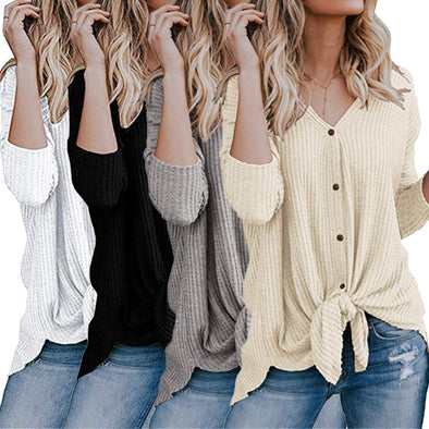 2019 Autumn New Women's V-neck Cardigan Long-sleeved T-shirt Bottoming Shirt