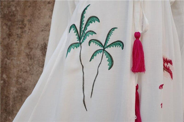 Bohemian Embroidered Button Front Open Cotton Tunic Women Summer Beach Dress Plus Size Long Sleeve V-neck Belted Long Dress