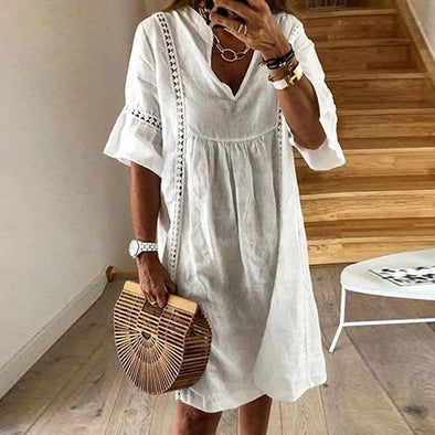 V-neck Patchwork Beach Summer Dress Women Casual Half Sleeve Loose Mini Dress Elegant Hollow Out Party Dress