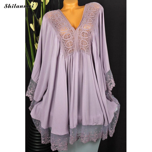 Elegant Patchwork Plus Size Summer Dress For Women Hollow Out Lace Loose Female Beach Dress V Neck Flare Sleeve Causal Vestidos