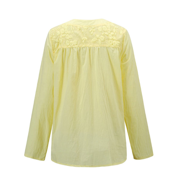 Embroidery Women's White Blouse Casual Plus Size Tops Elegant V-Neck Long Sleeve Tunic Summer Autumn Floral Print Women's Shirt