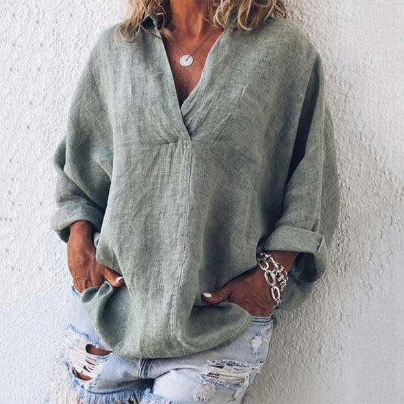 Fanbty Women soft cotton Linen Loose Blouse Casual Solid Color Long Sleeve tops 2019 Elegant Summer sexy V-neck Blusas pullover
